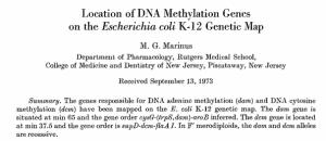 Location of DNA methylation genes on the Escherichia coli K-12 genetic map